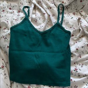 Topshop Crop Tank Top in Forest Green
